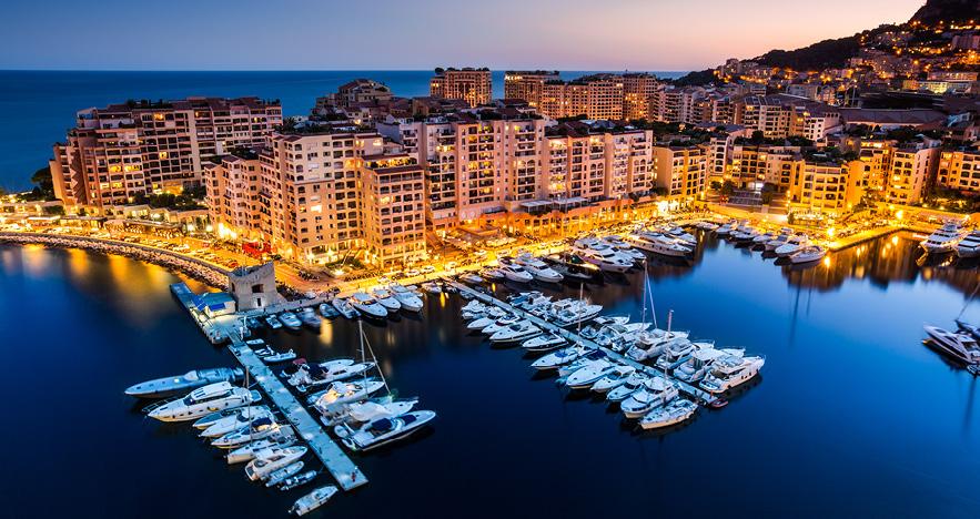 Monaco Yachts at Night