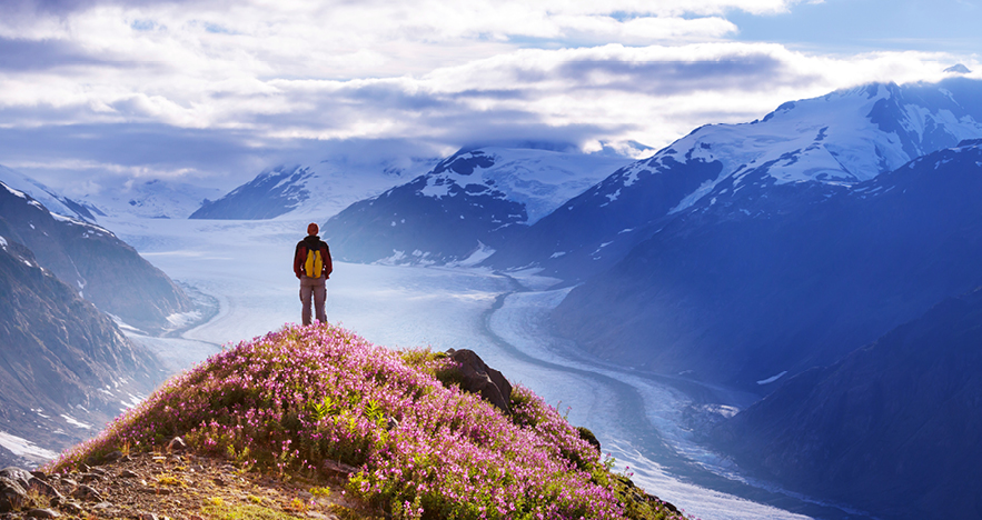 Man Hiking in Alaska