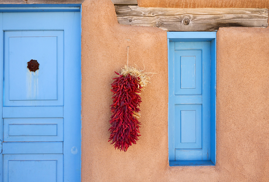 chili peppers on adobe structure santa fe